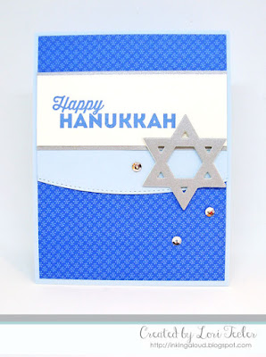Happy Hanukkah card-designed by Lori Tecler/Inking Aloud-stamps and dies from My Favorite Things