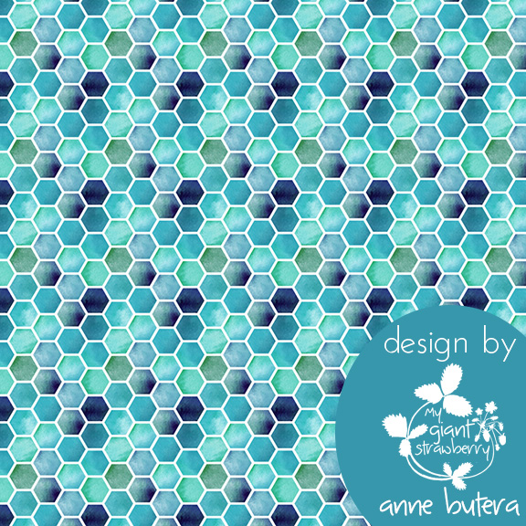 fabric design, hexagons, honeycomb, tile, blues, Spoonflower, surface pattern design, Anne Butera, My Giant Strawberry