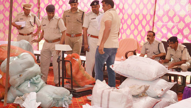 Faridabad police destroyed nearly 600 kg substance