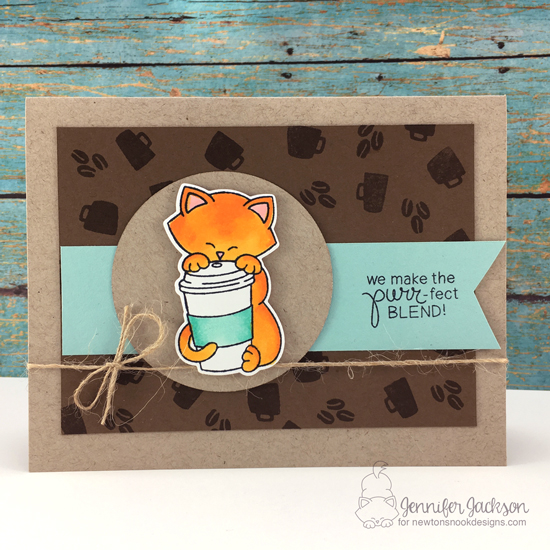 Spring Coffee Lovers Blog Hop! Cat and Coffee Card by Jennifer Jackson using Newton Loves Coffee Stamp set by Newton's Nook Designs #newtonsnook