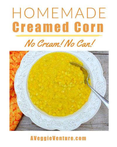 Homemade Creamed Corn, a simple, healthy makeover ♥ AVeggieVenture.com. No cream! No can!