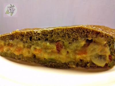 Bizcocho Vegano de Té Verde Matcha, Relleno de Crema Pastelera de Frutas.