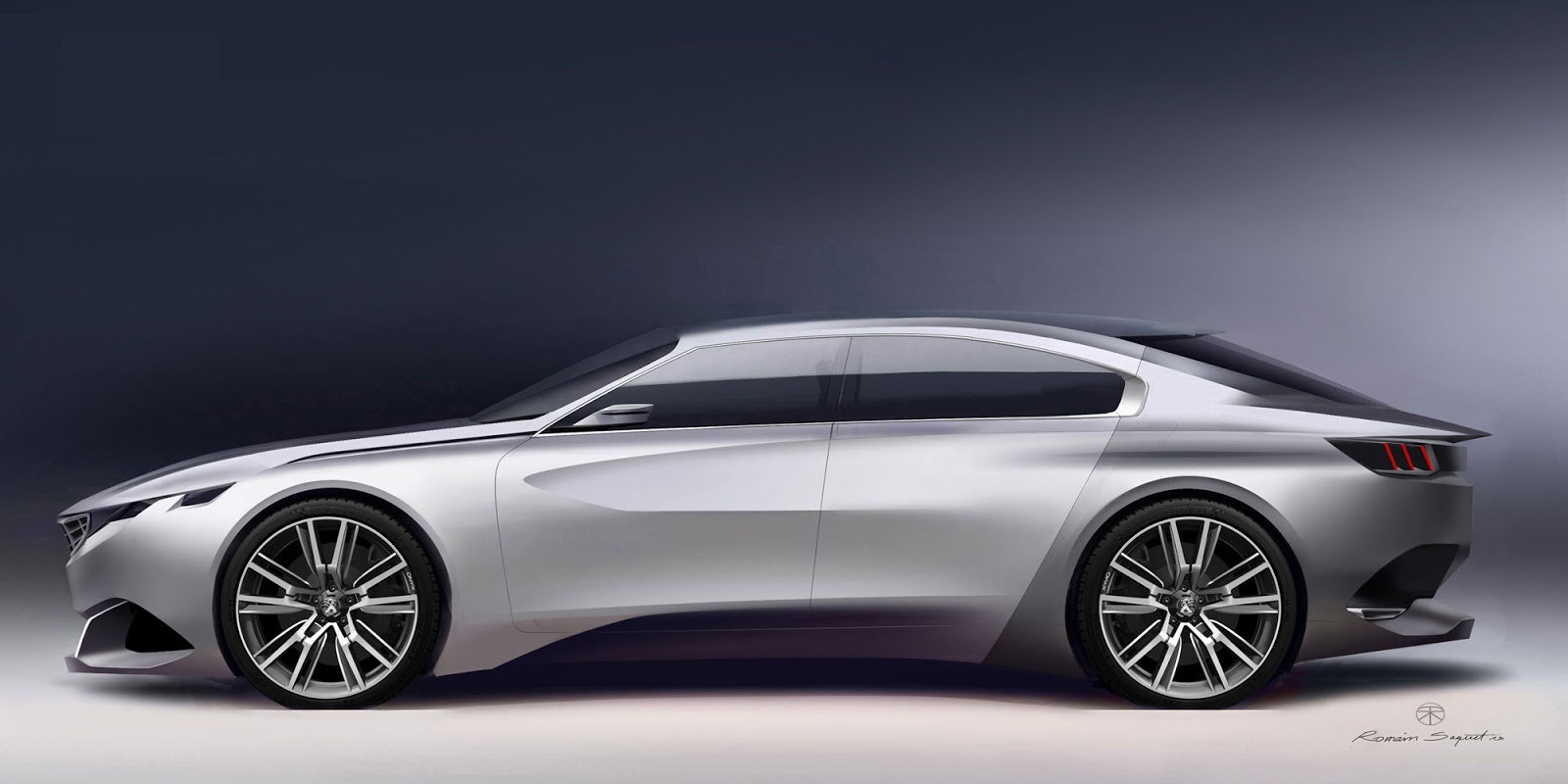 Peugeot Exalt concept side view, render by Romain Saquet