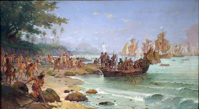 13 Portuguese caravels, and 1,200 people under the command of Pedro Álvares Cabral, first arrived in Brazil.