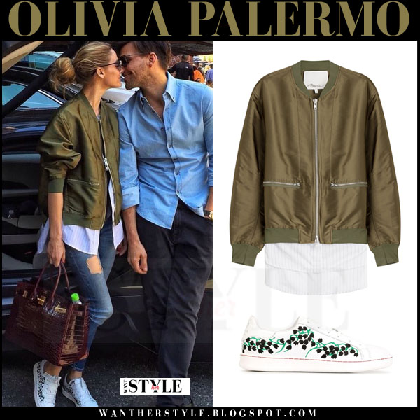 Olivia Palermo in green satin phillip lim layered bomber jacket, skinny jeans and white moncler gamme rouge muguet sneakers what she wore casual outfit