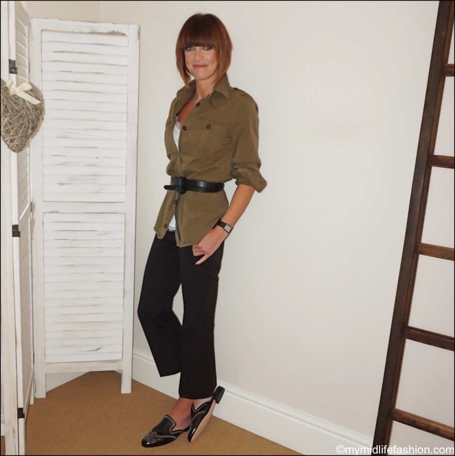 my midlife fashion, j crew studded academy loafers, Isabel Marant Lecce leather belt, j crew cropped kick flare trousers, Zara lace trim camisole, Isabel Marant overshirt