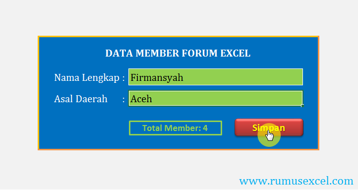 Aplikasi Form Data Entry Member di Excel