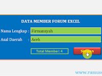 Aplikasi Excel: Form Data Entry Member