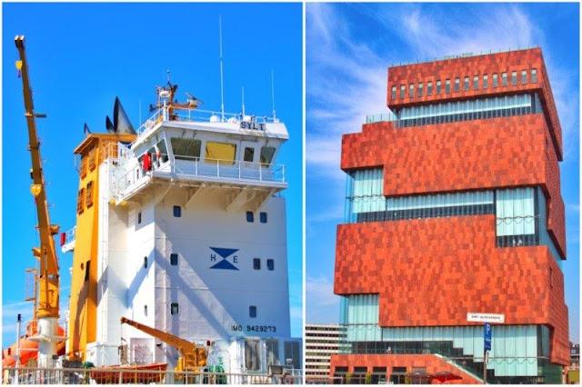 Gruas portuarias y Museum Aan de Stroon MAS en Amberes Antwerpen