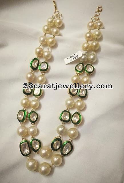 Broad Diamond Bangle and Pearls Set