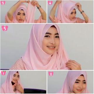 Cara memakai jilbab segi empat untuk wajah bulat dan pipi tembem