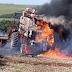 Colheitadeira pega fogo em lavoura no interior de Bossoroca