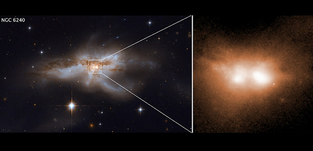 These images reveal the final stage of a union between two galactic nuclei in the messy core of the merging galaxy NGC 6240. The image at left shows the entire galaxy. At right is a close-up of the two brilliant cores of this galactic union. This view, taken in infrared light, pierces the dense cloud of dust and gas encasing the two colliding galaxies and uncovers the active cores. The hefty black holes in these cores are growing quickly as they feast on gas kicked up by the galaxy merger. Image credit: NASA, ESA, W. M. Keck Observatory, Pan-STARRS and M. Koss (Eureka Scientific, Inc.)