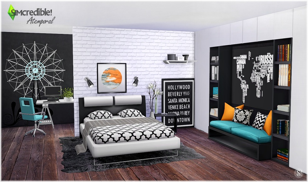 My sims 4 blog atermporal bedroom set by simcredible designs for Sims 4 bedroom ideas