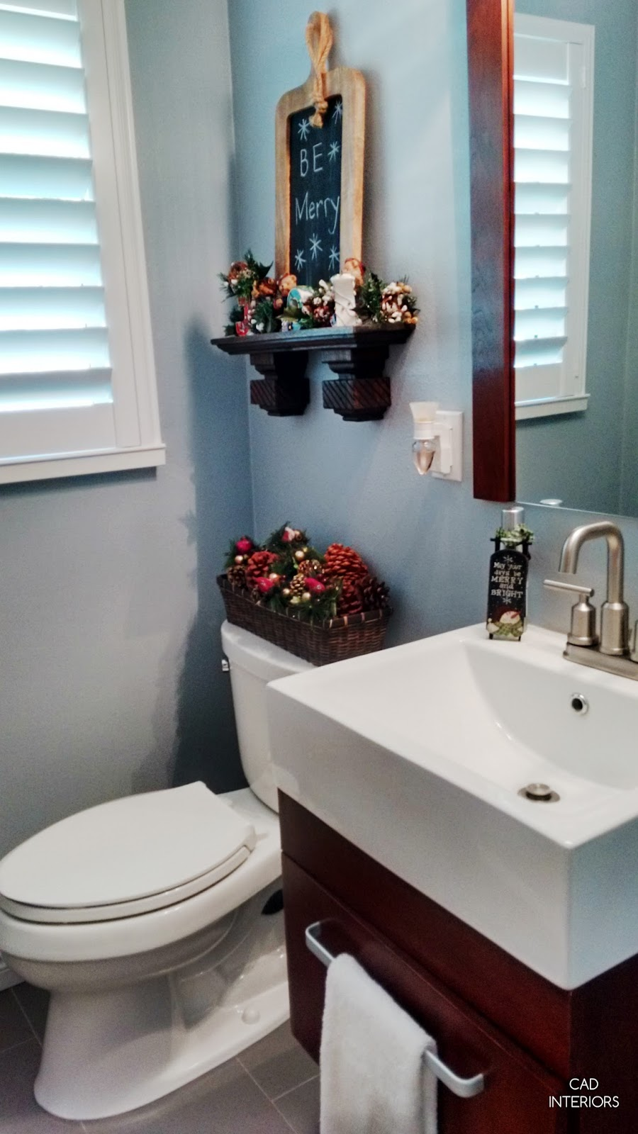 CAD INTERIORS holiday guest bathroom Christmas decorating rustic classic traditional decor