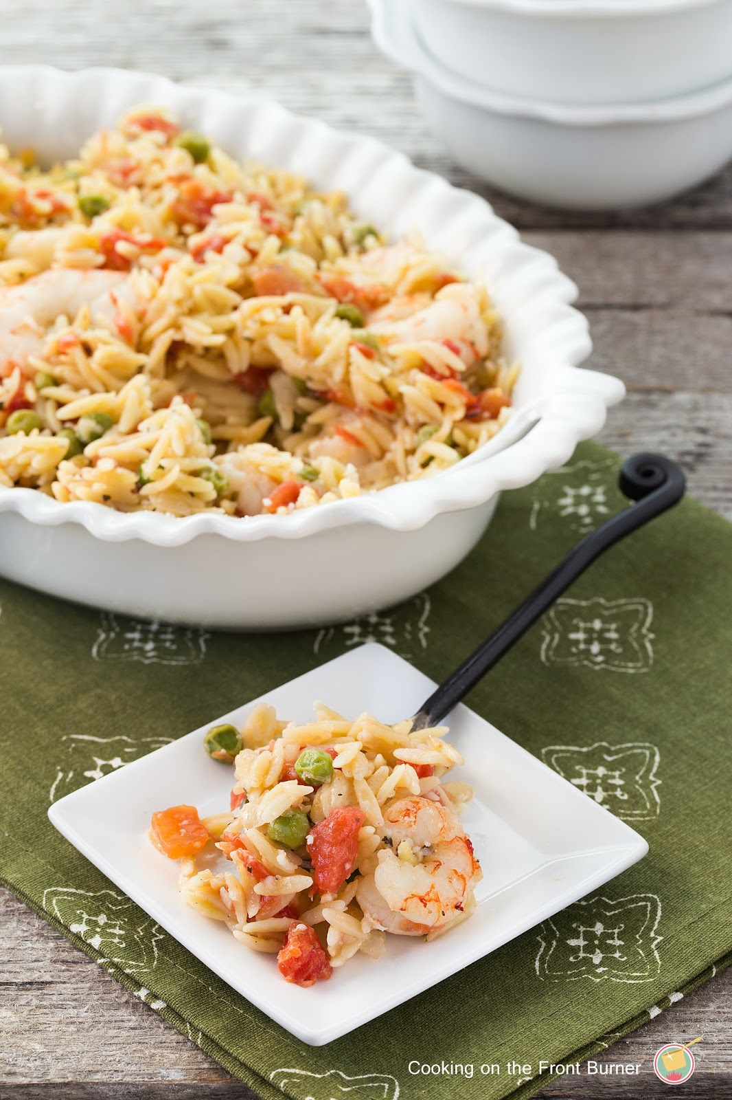 Lemon Orzo Shrimp Bake by Cooking on the Front Burner