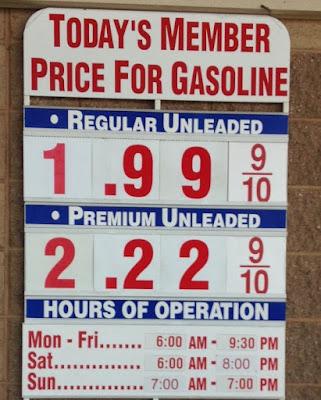 Costco gas for Feb. 27, 2016 at the Costco in Hayward, CA