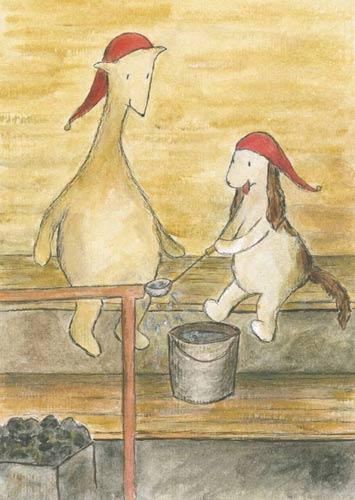 Postcard illustration of Hulmu Hukka and Haukku Spaniel in a Christmas sauna