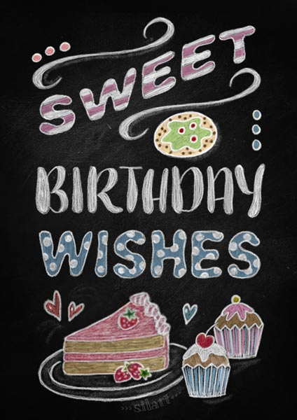 sweet birthday wishes, chalkboard card