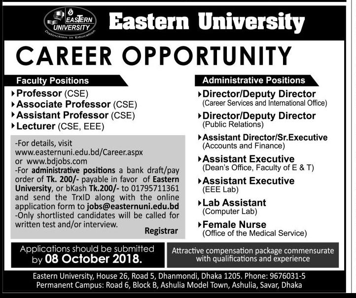 Eastern University Professor Job Circular 2018