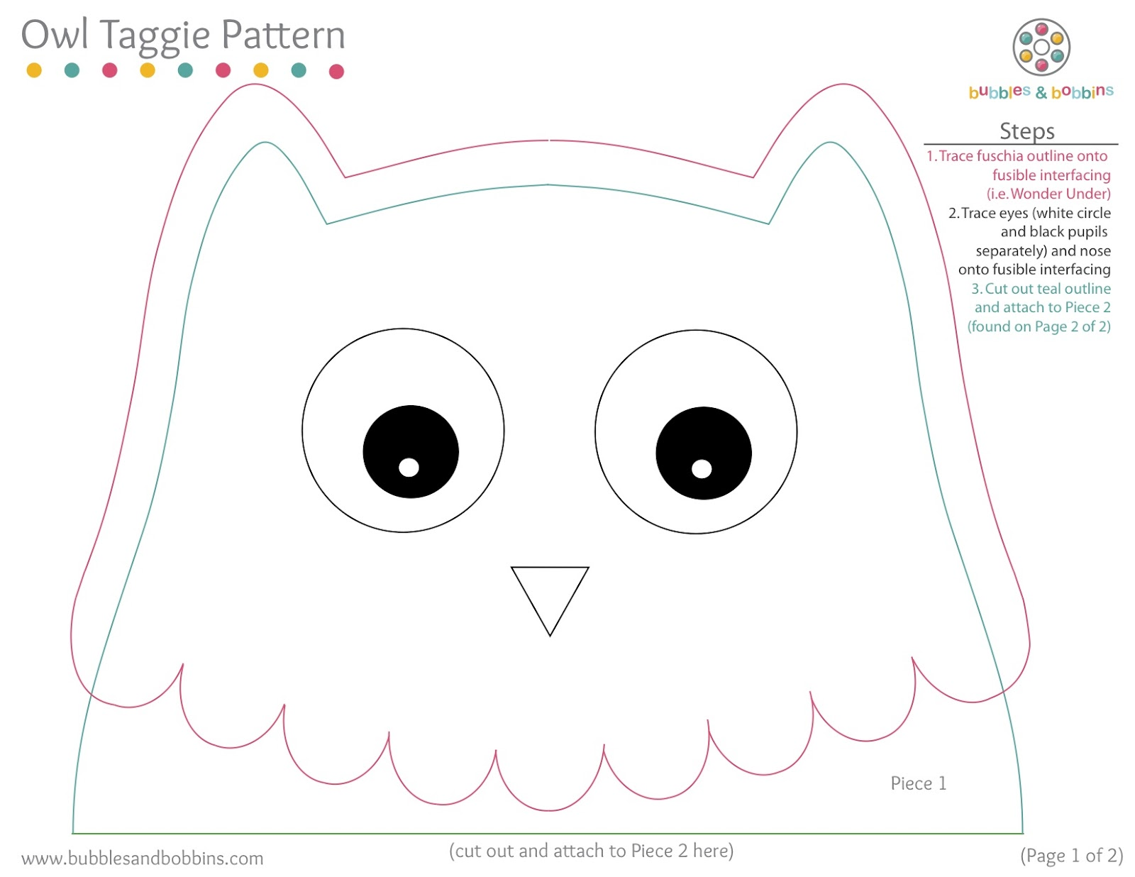 Owl taggie pattern for Owl templates for sewing