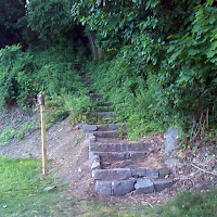 Bottom of Stone Steps of Carpenter's Trail  by Hudson River