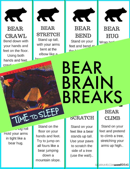 Bear brain breaks for movement and learning in the classroom setting with a bear theme