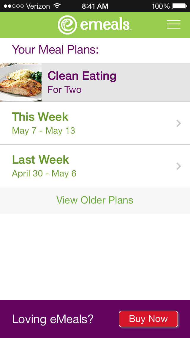 eMeals FREE phone app for meal planning