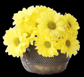 Vaso metal com flor amarela