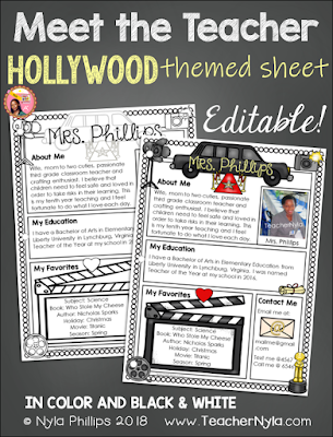 Meet the Teacher Editable Template Hollywood Theme