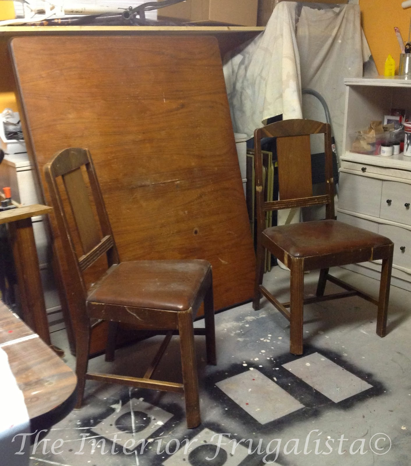 1940's Art Deco Waterfall Table and Chairs Before