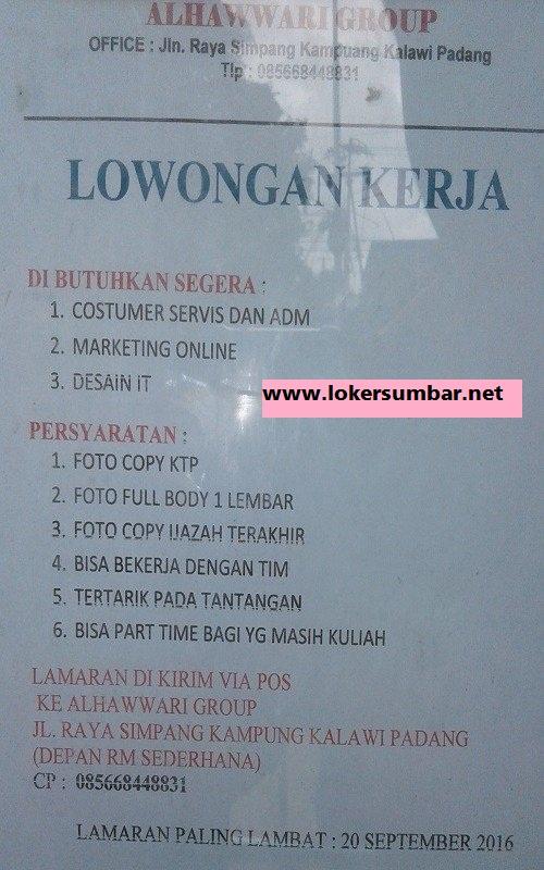 Lowongan Kerja di Padang – Alhawwari Group – 3 Posisi (Penutupan 20 Sept.2016)