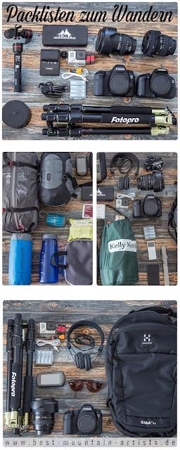 Packlisten zum Wandern - Tagestour Rucksack und Trekking Packliste