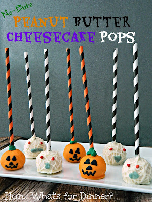 Pumpkin and Mummy No Bake Peanut Butter Cheesecake Pops- Hun... What's for Dinner?