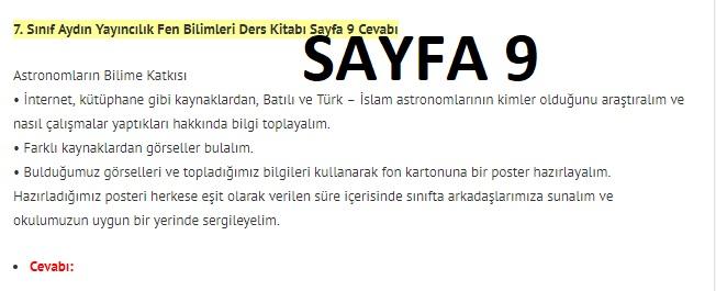 7. Sınıf Fen Bilimleri Ders Kitabı Cevapları Aydın Yayınları SAYFA 9
