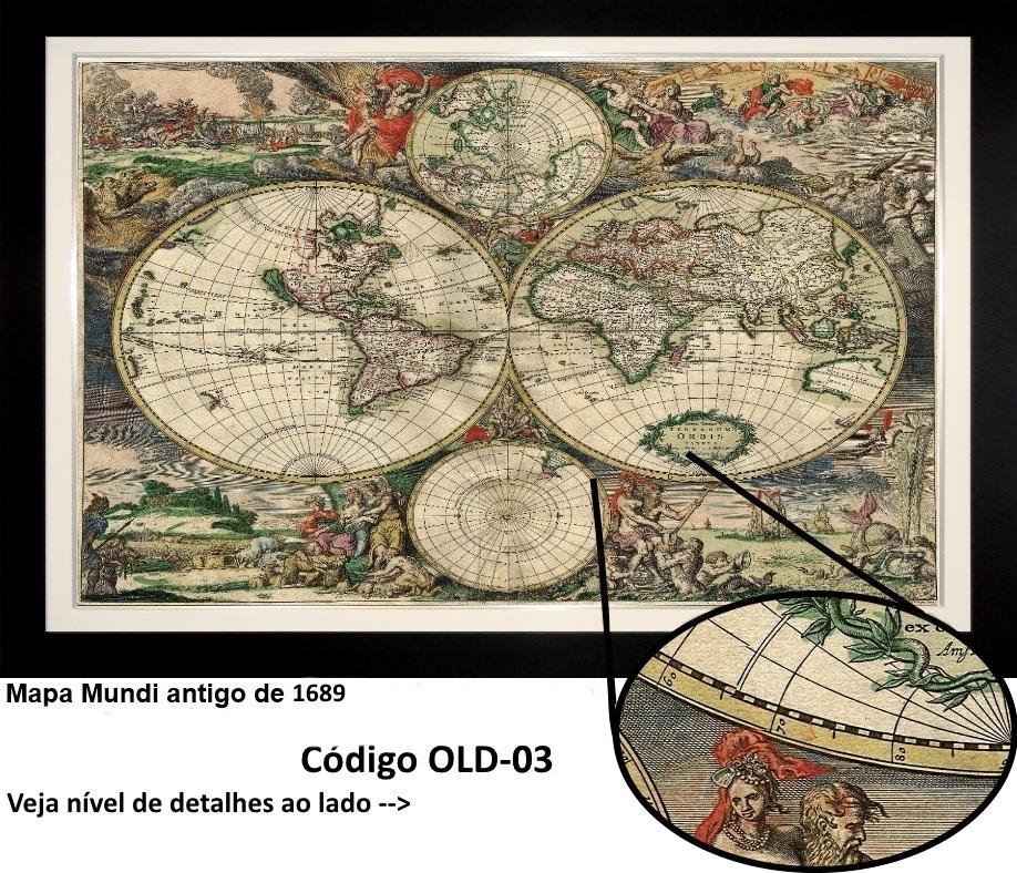 mapa antigo do mundo quadro