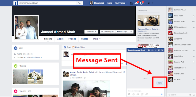 Send Facebook Message  send it now