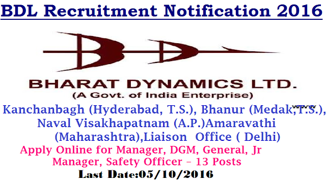 BDL Bharath Dynamics Limited Recruitment 2016 Manager, DGM, General, Jr Manager, Safety Officer – 13 Posts Bharat Dynamics Limited| BDL Recruitment Notification 2016 |Bharat Dynamics Limited (BDL), a Miniratna Category-I Public Sector Enterprise, was incorporated in the year 1970 under the Ministry of Defence (MoD), Government of India. A pioneer in the manufacture of Anti-Tank Guided Missiles, today, BDL has evolved as a conglomerate, manufacturing ATGMs of later generations, Strategic Weapons, Launchers, Underwater Weapons, Decoys and Test Equipments. BDL is engaged in manufacturing of Missiles Systems and other sophisticated equipments vital for the Defence of the Country and is amongst a few Industries in the World having capabilities to produce State of the Art Guided Weapons Systems. The customers of the Organization are all three wings of the Armed Forces. BDL is a fast growing Company, with a healthy Order Book position and huge expansion plans. The Company is poised to enter new avenues of manufacturing, covering a wide range of Weapon Systems making it a World Class Defence Equipment Manufacturer.|BDL offers a Challenging and Rewarding career to dynamic individuals to contribute towards Nation building in the field of Strategic Defence Equipments. Selected candidates will be posted to any of Units/ Offices of the Company i.e. at Kanchanbagh (Hyderabad, T.S.), Bhanur (Medak District, T.S.), Naval Visakhapatnam (A.P.), Amaravathi (Maharashtra), Liaison Office (New Delhi) or New upcoming project locations across India as per requirement of the Company. Eligible and interested candidates are required to apply online. Online Applications Opens from 20 Sep 2016 at 1000 hrs & Closes on 05 Oct 2016 at 1600 hrs/2016/09/bdl-bharath-dynamics-limited-recruitment-notification-2016-apply-online-DGM-GeneralJunior-Manager-safety-officer-MOD-Ministry-of-defence.html