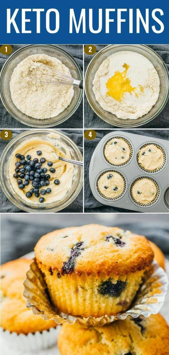 These blueberry muffins are soft and fluffy, great for breakfast or as a convenient snack. They're only 3.5g net carbs apiece and will help satisfy your sweet tooth cravings.  They're pretty straightforward to make, with all of the ingredients mixed in a single bowl. The batter is transferred to greased muffin tin liners, and they're baked in the oven until golden on top.