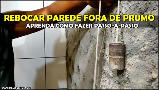 colocando prumo na parede rebocada
