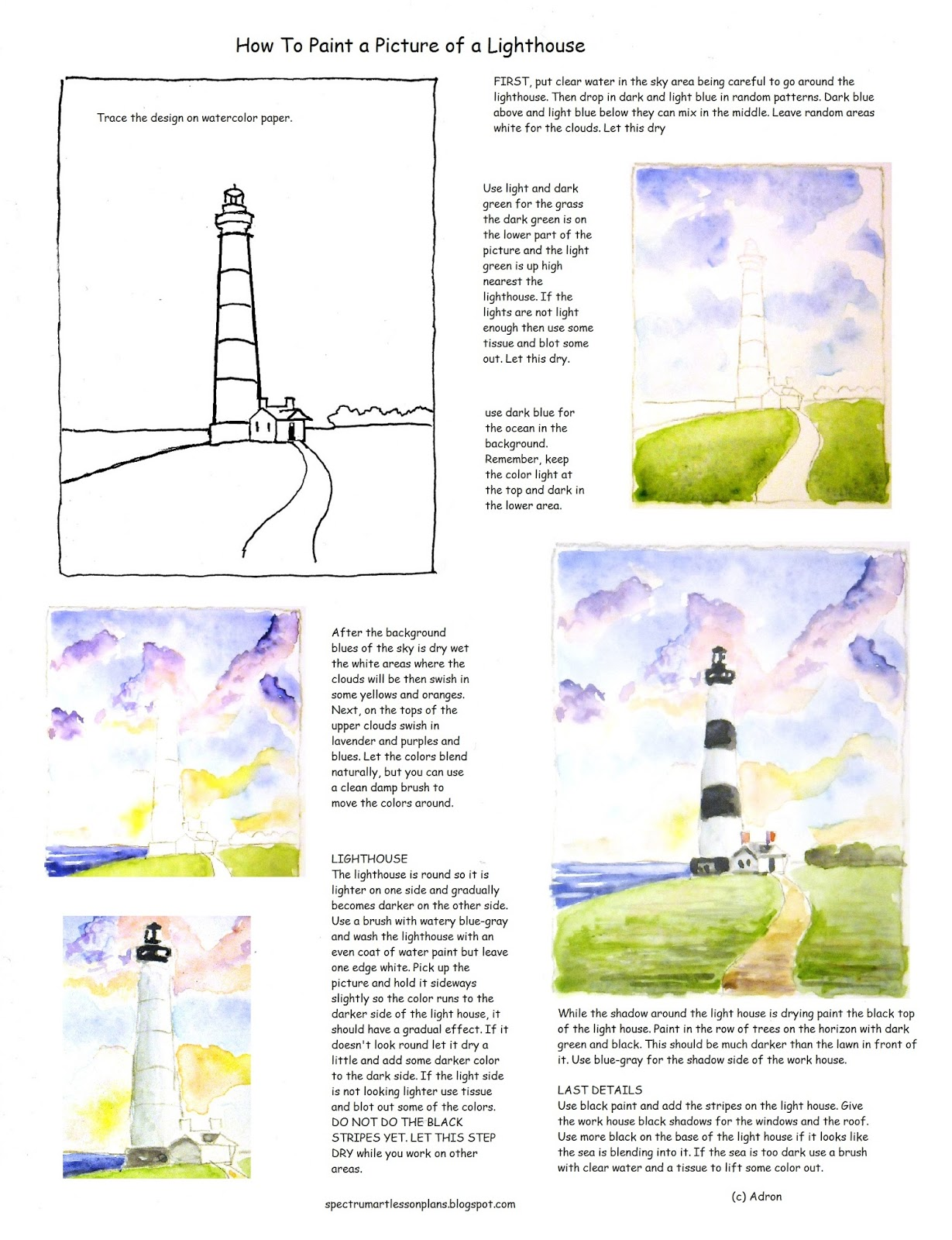 Adron S Art Lesson Plans How To Paint A Picture Of A Lighthouse Worksheet For Watercolor