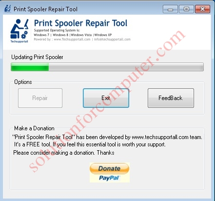 Updating print spooler service by Print spooler Repair tool.