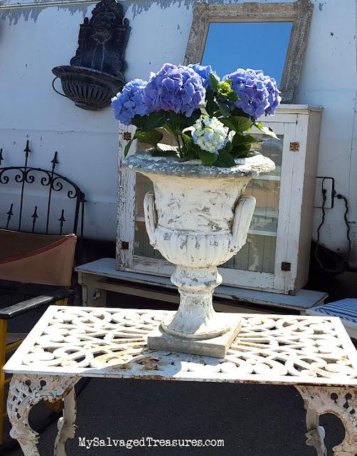 hydrangeas vintage urn