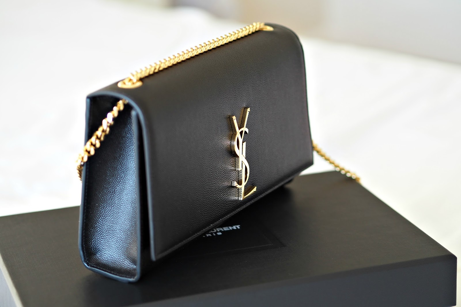 Saint Laurent Classic Medium Kate Monogram Handbag in black, bond street