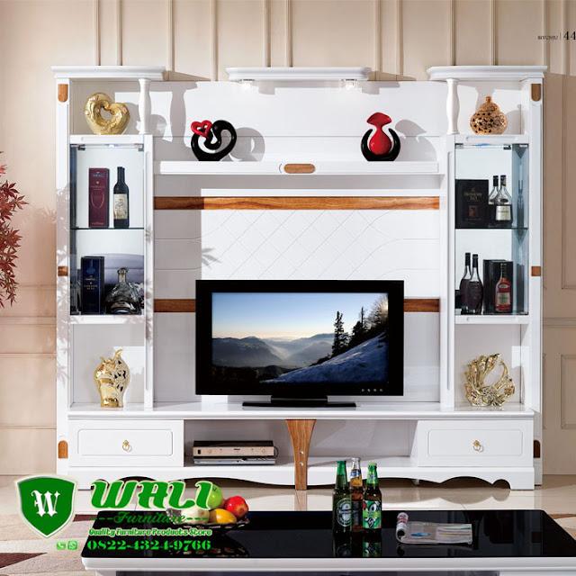 Buffet TV Cabinet Minimalis Modern Warna Putih Kayu Mahoni Model Terbaru