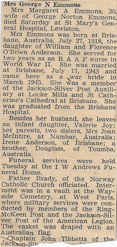 Obituary of Margaret Constance Anderson Emmons