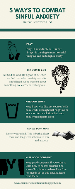 Fear, anxiety, terror, they plague Christians but God has the power to bring us victory.  Check out these 5 tips for combating sinful anxiety.