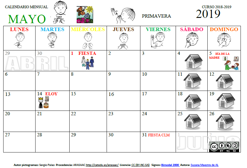 Calendario Abril Y Mayo 2019.Susana Maestra De A L Calendario Mensual Mayo 2019
