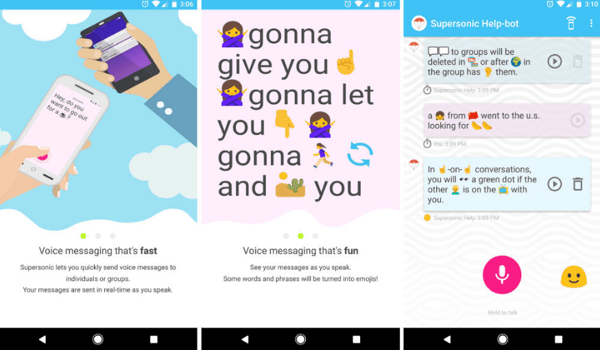 Supersonic Fun Voice Messenger : New Walkie Talkie App By Google