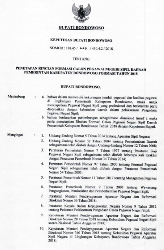 tertuang dalam Keputusan Bupati Bondowoso Nomor  TERLENGKAP FORMASI CPNS KABUPATEN BONDOWOSO TAHUN 2018